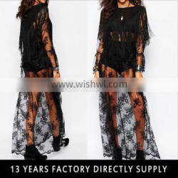 Black long maxi tulle printed dress with fringe for mature women 2016