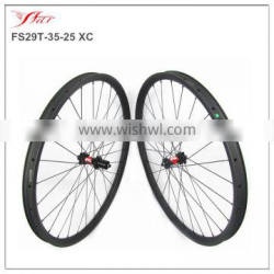 High-end custom mtb wheels 35mm wide 25mm deep clincher rims with 28H, 29er carbon bicycle wheels XC/DH/AM logo available
