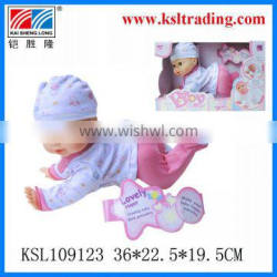 16 inch kids battery operated rubber creeping doll toys