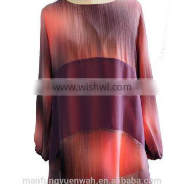 Multi Color Print Round Collar Long Sleeve Chiffon Shirt with Front Strip Blouse Tunic Dress