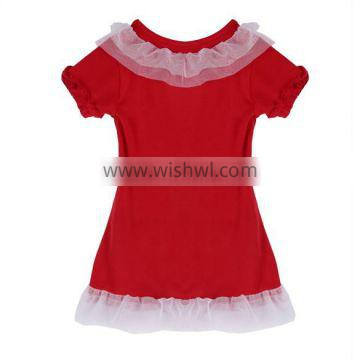 Girls Lovely Short Sleeve Home Frilly Red 2 / 3 year or 1-6 years old baby girl dress