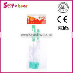 Wholesale and Retail Baby Bottle Brush With Teat Rotate tiny bottle brush Cleaner Cleaning 2pcs/set