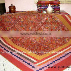 Indian handmade patchwork kantha quilts with fine hand thread work mirror work all over wholesale discounted price