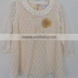 baby girls beige embroidered coat for Autumn