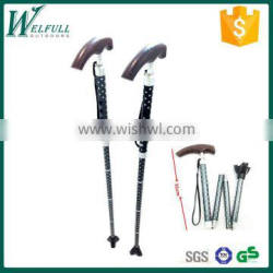 Crutch for old, telescopic cane, wooden handle, foldable cane SZ20001