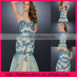 New Sweetheart and Strapless with Multicolored and Dazzling Applique Beaded Mermaid Floor Length Royal Blue Long Evening Dress