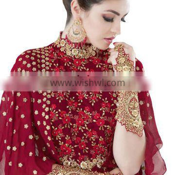 2017 Engagement Party Wear Gown Style Anarkali Suits With Flairs And Fluffy Sleeves Dress Material