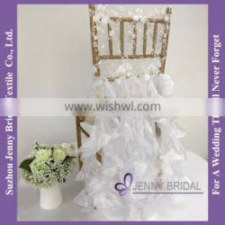 C126B white elegant chair covers for weddings with ruffles