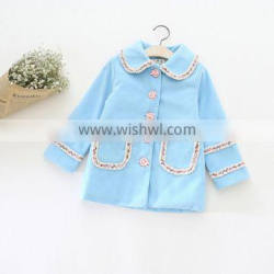 S16002A New Model Long Sleeve Kids Girls Solid Coat For Spring