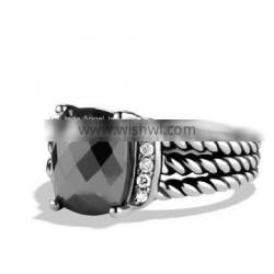 High Quality 925 Silver DY Petite Wheaton Ring with Hematite