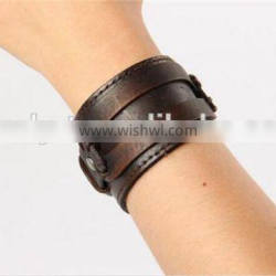 new arrival hand made teen boys punk palin cool cow leather bracelet