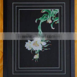 Handworked embroidery wall-hanging---night-blooming cereus