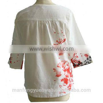 Coral Pattern with Side Pocket Linen Fabric Blouse