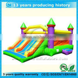 2014 hot sale durable inflatable bouncing castles with slide