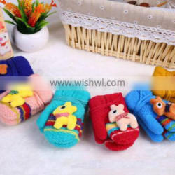 Children lovely animal winter knitted gloves with thick lining