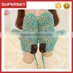 V-406 fashion cable pattern handmade mitten gloves with button crochet coarse needle mitten gloves knit arm warmer