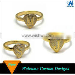 Jewelry Manufacturer Cheap Gold Plating Heart Shape S Letter Ring Wholesale