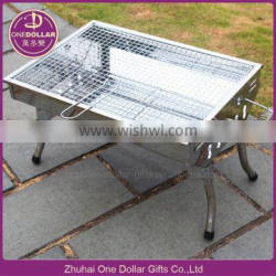 Folded portable bbq charcoal grill for outdoor, camping