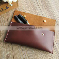Top Quality Genuine leather pen and pencil case/bag /pouch