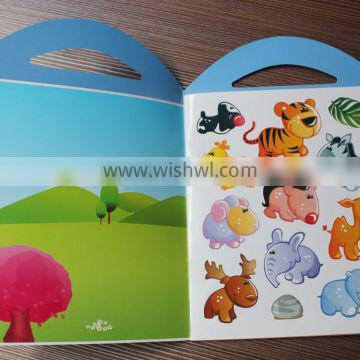 2015 eco-friendly high quality children cartoon portable sticker collecting book
