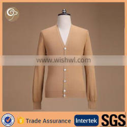 V neck with button cashmere cardigan