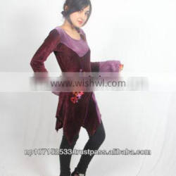 SHWDR182 cotton velour dress with embroidery tinkle dress price 750rs $7.8