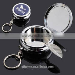 metal portable stainless steel pocket ashtray in chrome finished with key chain