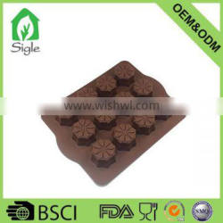 12 cavity flower shape silicone cookie mold with metal inside chocolate mold