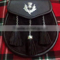 Scottish Half Dress Sporran With Thistle Badge Made Of Fine Quality Leather Material