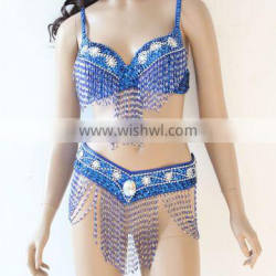 blue wholesale belly dance costumes with sequin bead and rhinestones (XF-033)