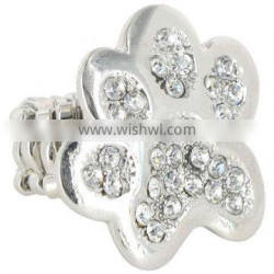 Fashion Cute Silvery Paw Print Comfort Stretch Band Finger Ring With Clear Rhinestone