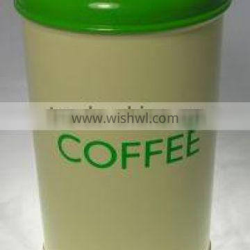 round coffee tin with lid