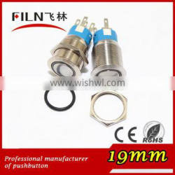 19mm stainless steel illuminated 220v ring green LED flat momentary pushbutton switch