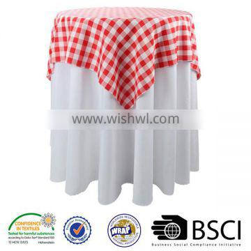 new popular 70x70-inch polyester tablecloth checkered table cloth whte and red