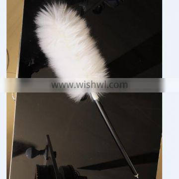 Car Care Lambswool Duster Sheepskin Wool Duster wood varnished handle cleaner
