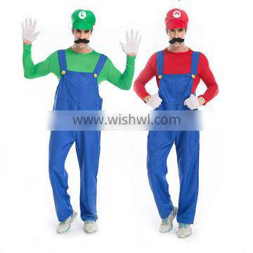 High quality Man's mario cosplay costume adult Louis super Mary Halloween party costumes