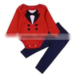 Autumn & Spring Long Sleeve Baby Suits Red Romper Top+Full Length Pants Set Lovely Design Clothing Set