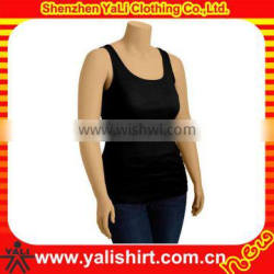 Custom popular breathable black cotton/spandex tight sexy workout ladies top cutting