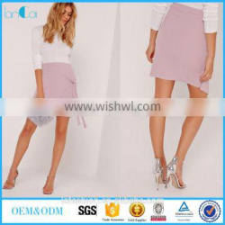 2017 summer latest style crepe tie front wrap mini purple skirt for women