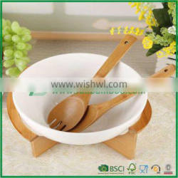 Serving Bowl with Bamboo Tray Decorative Porcelain Dinner Basin Tableware Accessories Craft for Fruit, Slalad and Rice