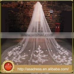 BV1003 Summer 2015 Hot sale Lace Appliques Wedding Veil 3 Meters Flower One Layer Bridal Long Veils Quality Choice