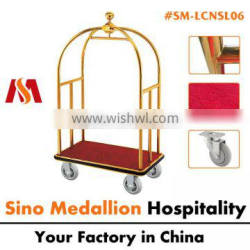 5 Star Stainless Steel Gold Brass Finish Hotel Luggage Cases Bags Gold Luggage Cart
