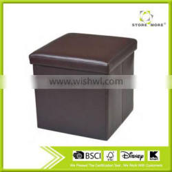 Brown Contemporary Faux Leather Storage Ottoman With Cover