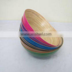 small bamboo bowl, small coiled bamboo bowl, natural inside color outside
