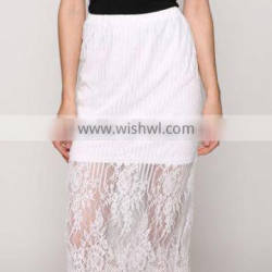 Stylish Sweet Lady Sexy Women's Casual New Fashion Lace Floral Below Knee Straight Skirt