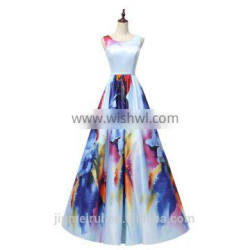 New Arrival Print Floral Evening Dresses Spaghetti Straps Corset Lace Up Colorful Evening Gown Long Prom Dresses Party Gown
