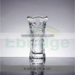glass flower vase crystal glass with flower pattern