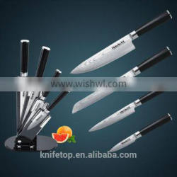 4pcs Japanese VG10 Damascus stainless steel kitchen knife set with double forged G10 handle in acylic block