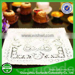 Wholesale 25 x 25cm Greaseproof FDA Colored Lace Square Paper Doilies Quality Choice