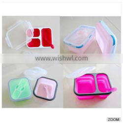 kitchenware collapsible silicone camping lunch box